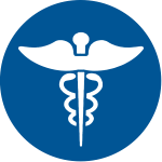 Medical wings blue circle icon